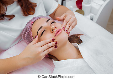 treatment., cosmético, massagem facial